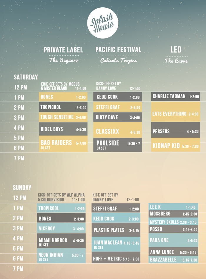 Splash House Schedule and Lineup