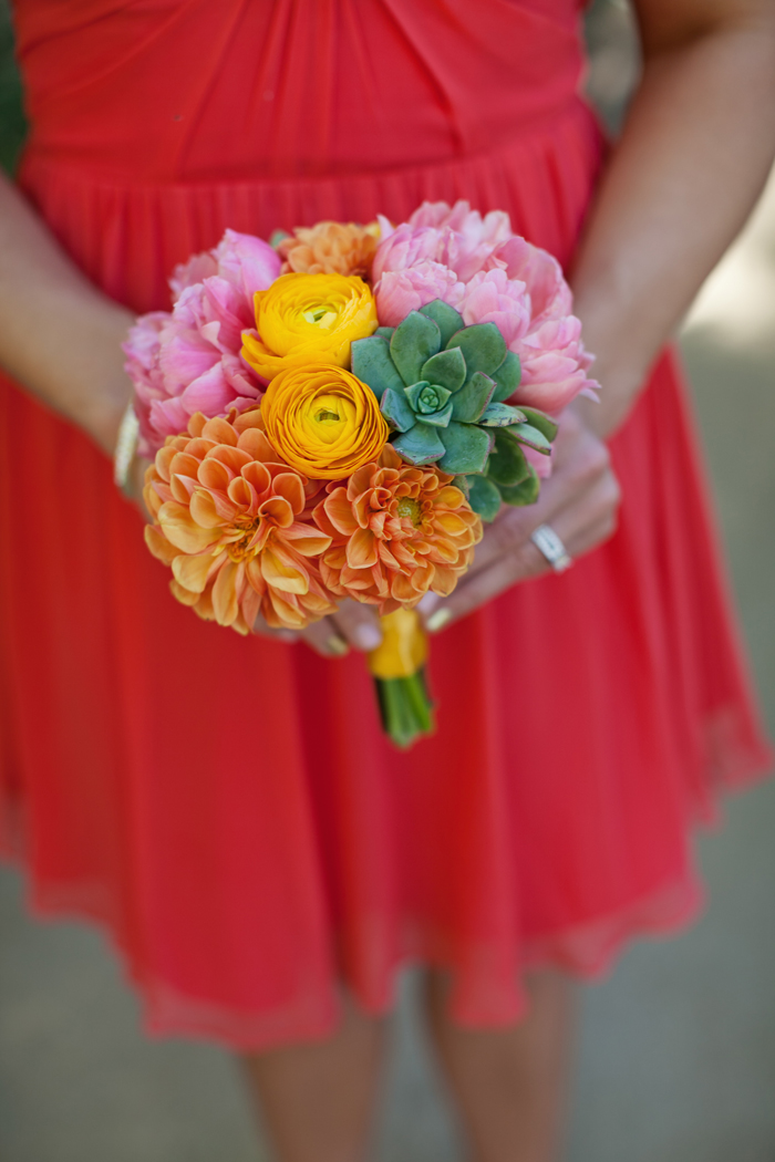 Amberly+Scott-Parker-Palm-Springs-Wedding-Bridesmaid-Bouquet-Orange-Coral
