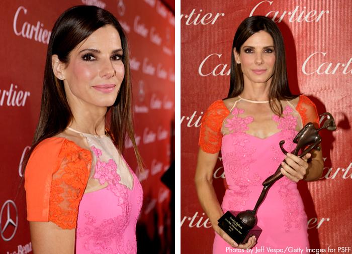 Sandra Bullock - Palm Springs International Film Festival 2014 - Orange and Pink Alex Perry Dress