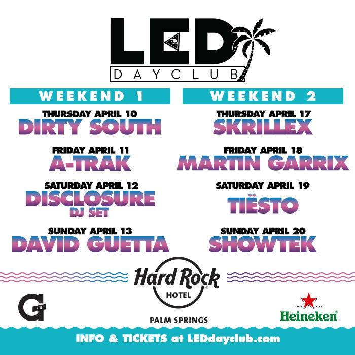 LED Dayclub - Hard Rock - Skrillex David Guetta Tiesto Martin Garrix A-Trak