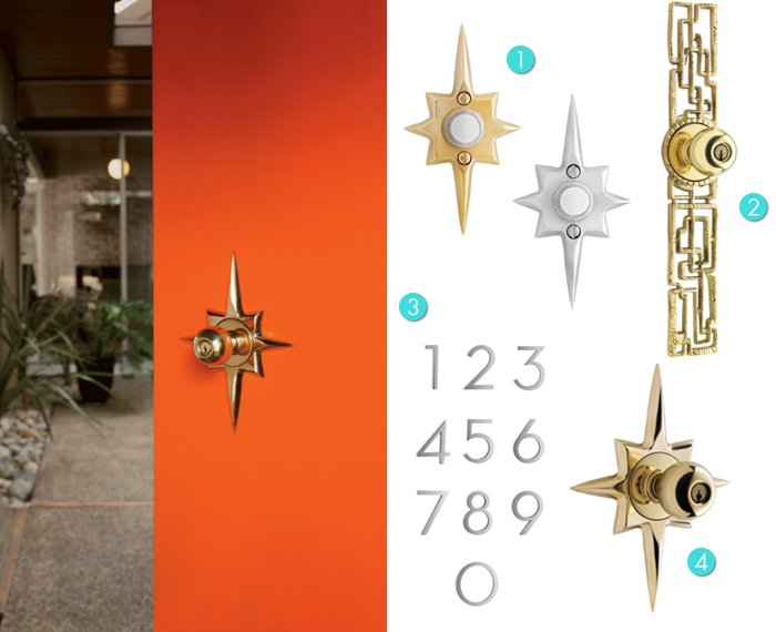 Rejuvenation Mid-Century Modern Door Knobs, Door Bells, House Numbers