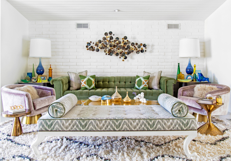 Above: The Homeu0027s Living Room, With Custom Made Sofa, Pillows And Bench;  Chairs And Brass Side Tables By Jonathan Adler; C. Jeré Raindrops Sculpture  Over ...
