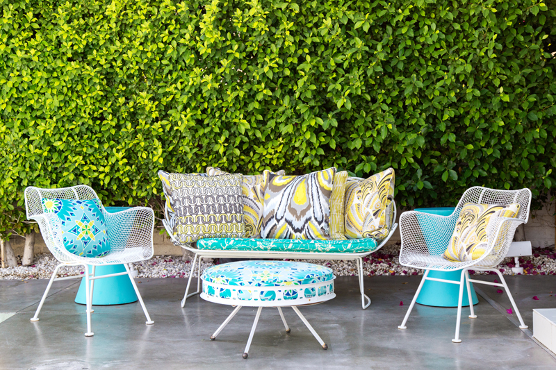 Above: Vintage Patio Furniture With Custom Upholstery In Trina Turk Fabrics.